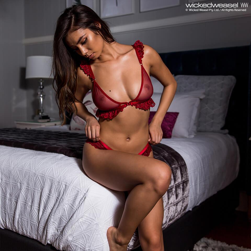 hot see through lingerie girl